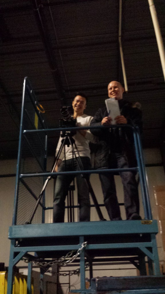 Director Tate and DP Tony shooting wide factory shot