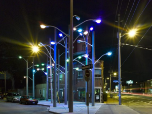 30 tightly packed streetlights