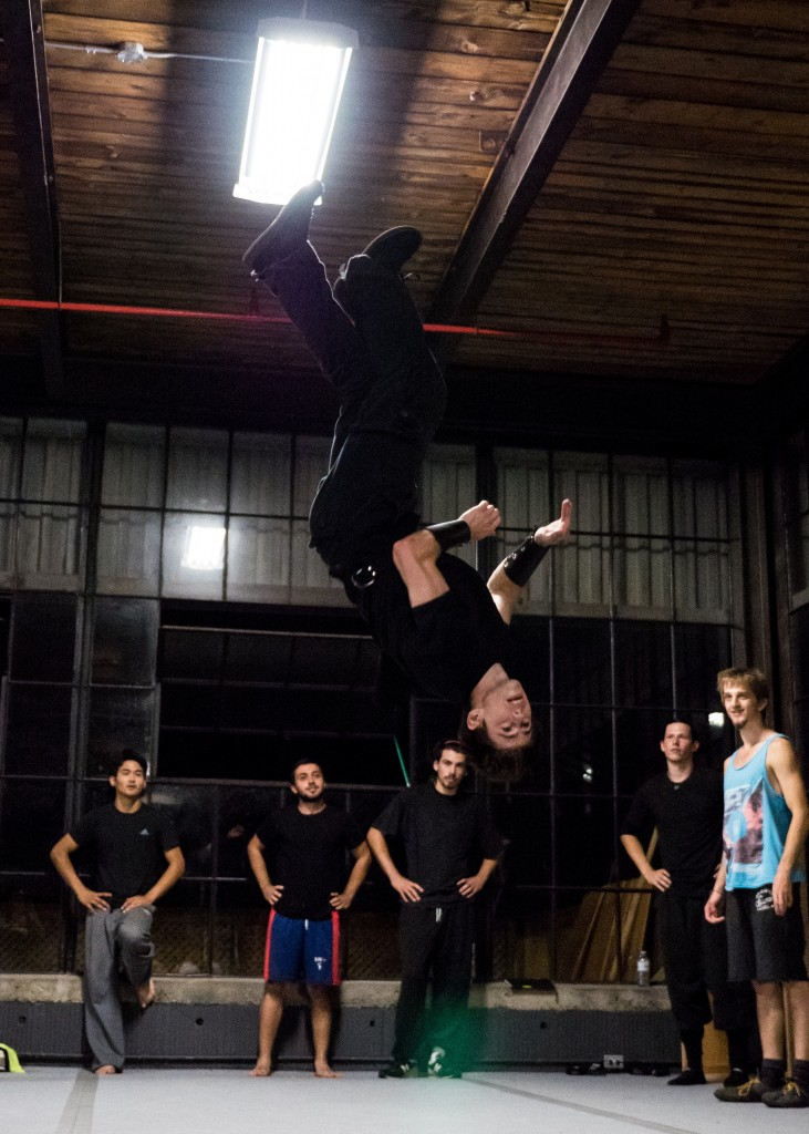 Performer does a flipping